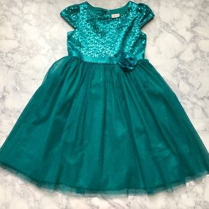Girls green teal sparkly fancy princess dress